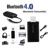 Fuibo Drahtloser Bluetooth Adapter Audio 3.5 mm Bluetooth Transmitter Sender Stereo Musikadapter für Audiogeräte (wie MP3, MP4, TV, PC und DVD usw.) (2 Stück Audio Kabel)