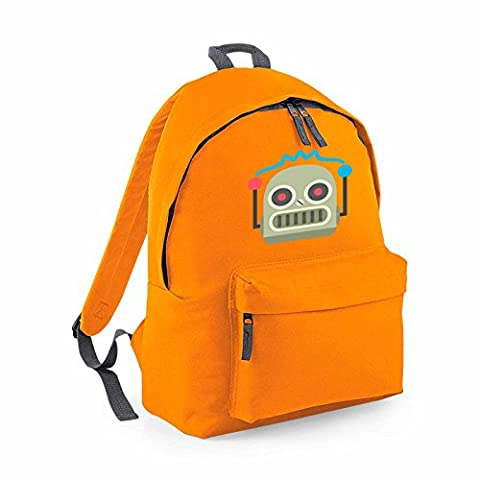 Apparel Printing Emoji Robot Face Fashion Backpack, Orange