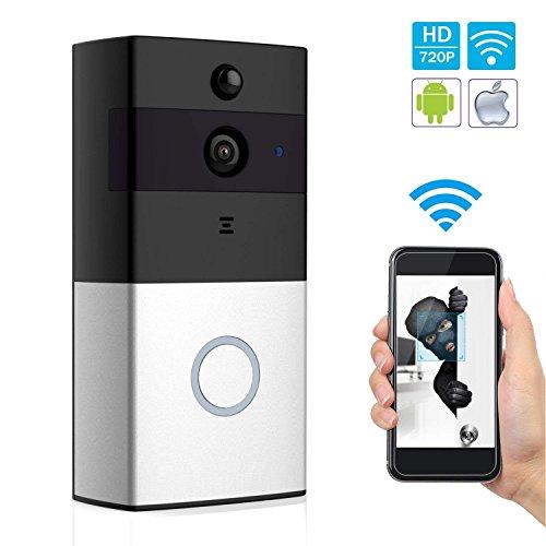 Sonnette Vidéo sans Fil avec Caméra HD, Objectif Grand Angle, Intercom Audio Bidirectionnel, Carte TF 8 Go, Vision Nocturne IR, Détection de Mouvement PIR, Télécommande Intelligente APP pour iOS et Android via WiFi 2,4 G
