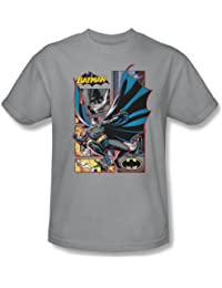 Justice League - Batman Panels Adult T-Shirt In Silver