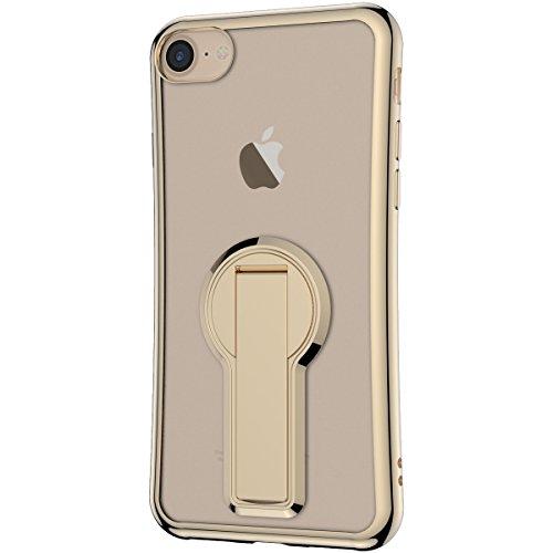 Coque iPhone 7, Etui iPhone 7 Or Rose, GrandEver Housse Silicone Transparente Clair Back Case avec Rotation à 360 degrés Supporter TPU Bumper Souple Etui Cover Caoutchouc Doux Gel Couverture Coquille  d'or