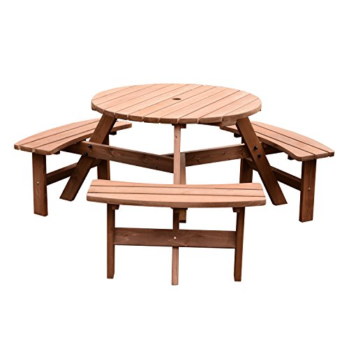 41ggV0aETzL. SS500  - Outsunny Fir Wood Pub Parasol Table and Bench Set 6 Person Heavy Duty Patio Dining Garden Outdoor Furniture
