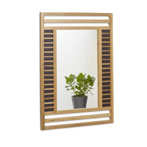 Relaxdays bambú Espejo tamaño: 70x 50x 2cm Espejo de baño Pared Decorativo bambú...
