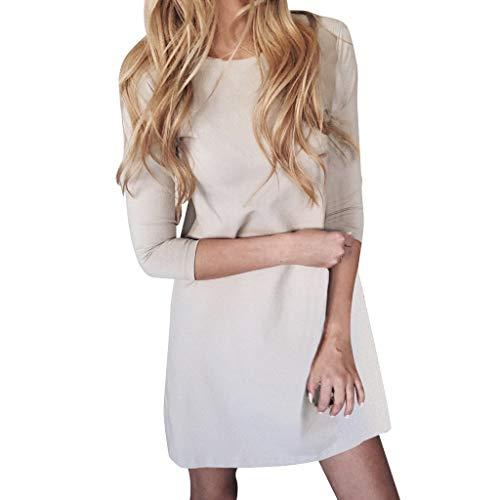 Damen Rundhals Elegant Minikleid Frauen Beiläufig Hohe Taille Lange Ärmel A-line Kleider