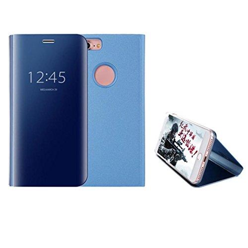 Ouneed® Für iPhone 8 4.7 Zoll Hülle , Luxus-Spiegel Clear View Flip Leder Stand Case Cover für iPhone 8 4.7 Zoll (Schwarz) Blau