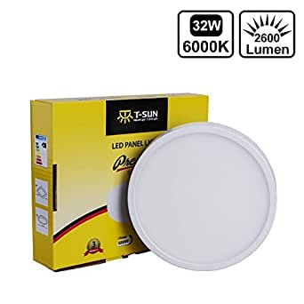 T-SUN 32W LED Flush Mount Ceiling Lights, 2-in-1 Round LED Panel Light, Cool White 6000K 2600LM Super Bright AC180-265V ,for Living Room, Bedroom, Kitchen, Kid's Room, Office, Hallway. [Energy Class A++]