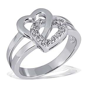 Goldmaid Damen-Ring zwei Herzen 925 Sterlingsilber 10 Zirkonia