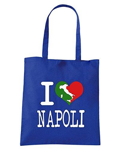 T-Shirtshock - Borsa Shopping TLOVE0138 i love napoli italian tshirt Blu Royal