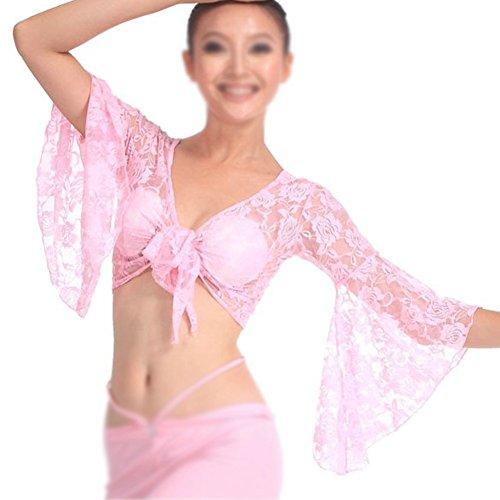 Sodial (R)-Camicetta In Pizzo Per Danza Del Ventre Con Reggiseno Incorporato Dancewear Costumi Da Carnevale, Da Donna, Colore: Verde Pink