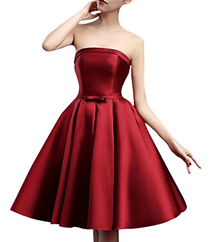 Azbro Women's Fashion Off Shoulder Bow Waist A-line Dress pink
