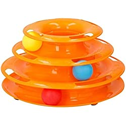 Jouet tour spirale - 3 balles inclues - 35 x 13.5 cm - Pour chat - Aucune