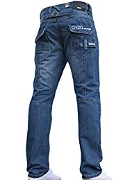 Enzo BNWT Mens Jeans Blue Designer Straight Washed All Waist & Sizes