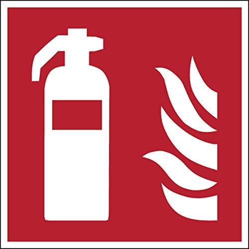 Brady 816878antincendio in poliestere laminato Sign, estintore, 100mm x 100mm, bianco su rosso