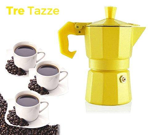 Cafetière italienne pour 3 tasses de café de couleurs FUN - WELKHOME - - Jaune
