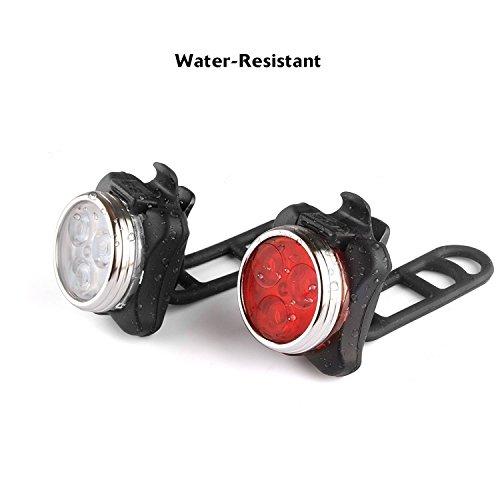LED Fahrradlicht Set, Hepooya Wasserdicht LED Fahrradlampe, USB Wiederaufladbare LED Fahrradbeleuchtung mit 4 Licht-Modus, 2 USB-Kabel Fahrrad Licht für Radfahren