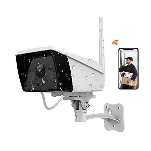 Fhd 1080p telecamera ip esterna senza fili, videocamera di sorveglianza wifi con ip66 impermeabile, rilevazione movimento, visione notturna, 2 vie audio, compatibile con ios/android/alexa