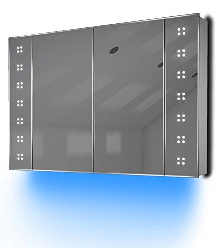K121 Badezimmer-Spiegelschrank, Ambiente, mit Sensor & Rasiersteckdose, Diamond X Collection, 600x900x110mm (HxBxT) blau