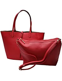 2 In 1 Women Leather Satchel Shoulder Bag In Bag Totes Handbag Double Purse - B073JJ3H8L