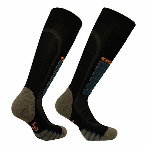 Eurosocks 3211Silber Supreme OTC Ski Socken mit drystat Feuchtigkeit Kontrolle-Paar, Damen Herren Mädchen Jungen Unisex, schwarz, S -
