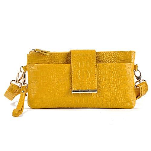 GSPStyle Damen Leder Handtasche Schultertasche Mode Umhängetaschen Clutches Damentasche Gelb