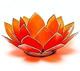 Find Something Different Etwas Finden Verschiedene Capiz Shell orange Silber Trim Lotus Chakra Kerze Teelichthalter, Bambus, Mehrfarbig
