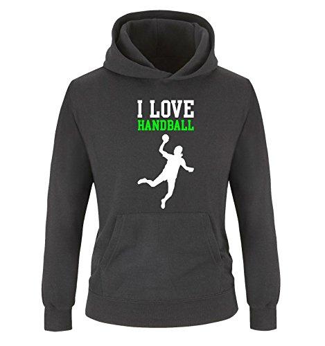 Comedy Shirts I Love Handball - Kinder Hoodie - Schwarz/Weiss-Neongrün Gr. 152