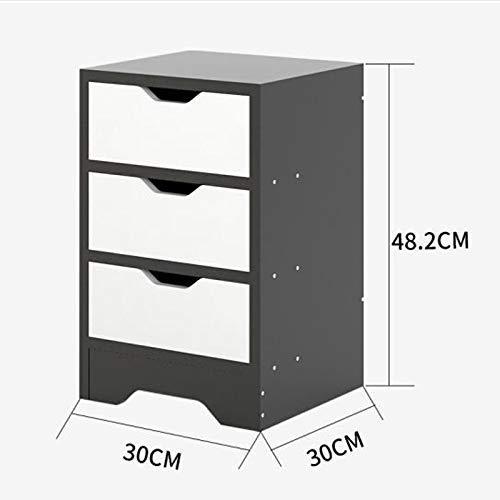 LXD Multifunktions-Nachttisch, Aufbewahrungsschrank für Haushalts-Nachttische, Großraum-Aktenschrank, schwarz, doppelt pumpbar, mit Schubladen, 19 Zoll (Aktenschrank Beistelltisch)