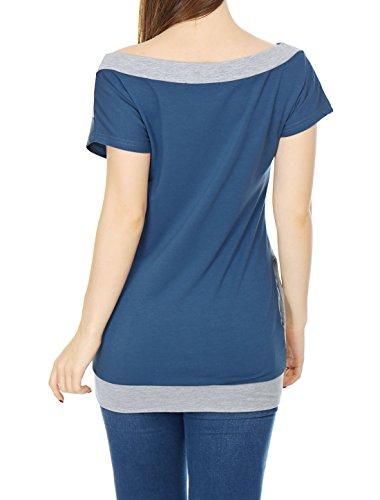 sourcingmap® Allegra K Femmes MANCHES COURTES COL Bateau tunique couleur Top gray