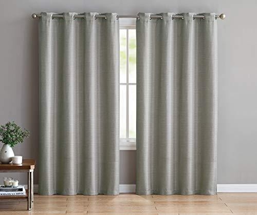 Ruthy's Textile Thermo-Vorhänge - 2 x 137 x 213,4 cm Paneele mit Ösen Oben - gewebt, verdunkelnde Vorhänge - für Schlafzimmer und Wohnzimmer grau