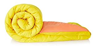Amazon Brand - Solimo Microfibre Reversible Comforter, Single (Peach Pink & Cheery Yellow, 200 GSM)