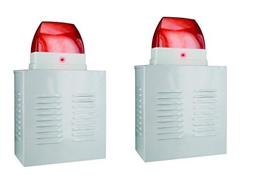 SMARTWARES 2er-Set Dummy Alarmanlagen-Fassadenboxen aus Aluminium mit Blink-LED, batteriebetrieben; SA11D
