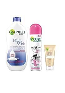 Garnier Set mit BB Cream, Deodorant und Body Urea Körperpflege plus gratis Kulturtasche, 1er Pack