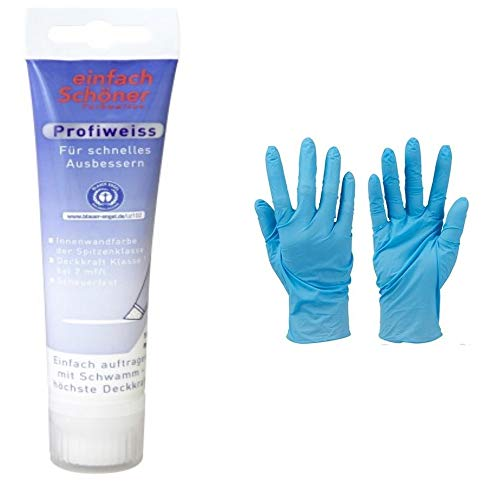 Einfach Schöner 100 ml Tube mit Schwammaufsatz zum Ausbessern von Schadstellen Profiweiss Innenwandfarbe Dispersionsfarbe 1 Paar Nitrilhandschuhe von E-Com24 (100 ml)