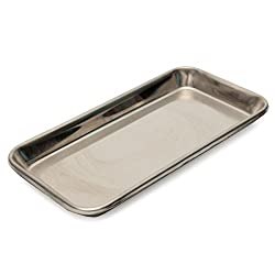 LussoLiv 22Ã-12Ã-2cm Stainless Steel Medical Tray Dish Lab Instrument Tray