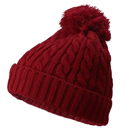 Frauen-Kabel gestrickte Beanie Damen Winter wollig warme Pudelmütze mit gemütlichen...