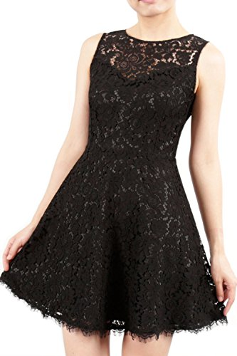 MACloth High Neck Sleeveless Lace Short Mini Cocktail Party Dress Formal Gown Fuchsia