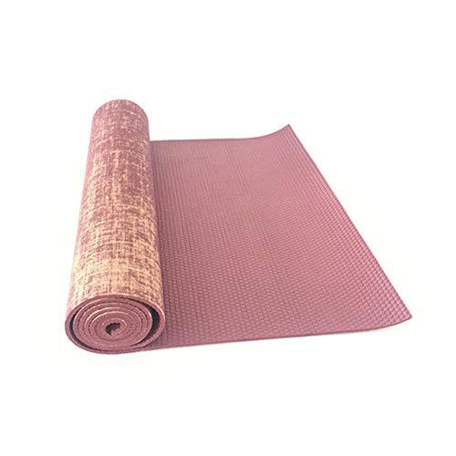 wovemster Leinen Jute PVC Yoga-Matte, Erweiterte Yoga-Matte Sport Fitness Matte Fitness Kissen Tanzmatte Fitnessgeräte (Jute-matte Yoga)