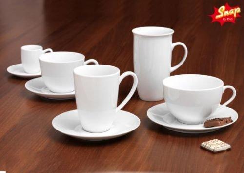 Snap By R&B Kaffee-Serie Bianco weiß Material 6er Cafe au Lait Tassen-Set Au Lait-set