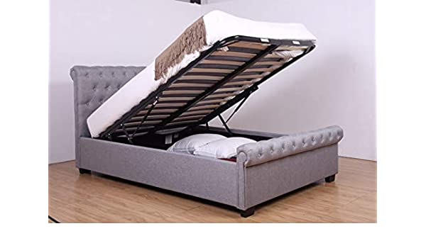 2929e7d15768 Tranquil Beds - Light Grey Fabric 4FT Small Double Ottoman Storage Bed with  Hard Base Storage  Amazon.co.uk  Kitchen   Home