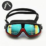 EnzoDate Myopia swim goggles sports glasses optical snorkel mask diving scuba anti-fog free ear plugs(Black/Red,Strength -1.5)