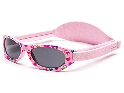 Kiddus Sonnenbrillen für Baby Kinder Jungen und Mädchen. 0 Monate bis 2 Jahren. UV400 SonnenSchutz. Unzerbrechliche Linsen. Mit Verstellbarem Gummiband. Nützliches Geschenk Mädchen Band
