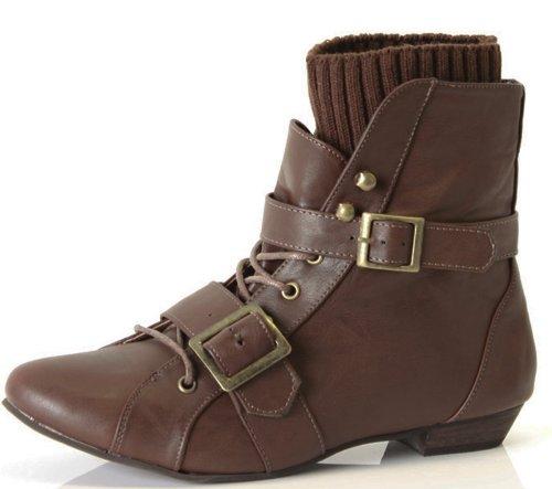 shoefashionista - Enfants Filles Bottes a Lacets Vintage Chaussures Plates Bottines Style D - Marron