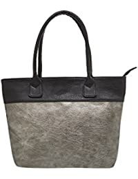 TARUSA Silver Faux Leather Solid Tote Bag For Women