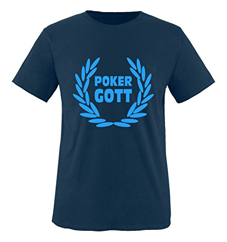 Comedy Shirts - Poker Gott - Herren T-Shirt - Navy / Blau Gr. XL