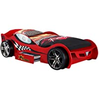 VIPACK SCMC200R Autobett Silverstone, circa 225 x 63 x 111 cm, Liegefläche 90 x 200 cm, lackiert aufgedruckte Rennwagen-Optik, rot