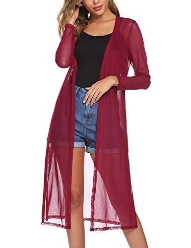 Abollria Damen Sommer Cardigan Leichte Lange Jacke Transparente Offene Strickjacke mit Seitenschlitze