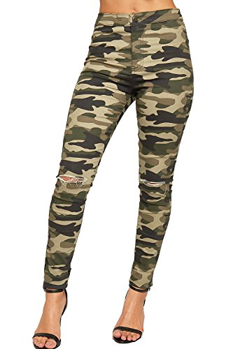 WEARALL - Femmes Ripped Affligé Coupe Genou Camouflage Imprimer Dames Maigre Jambe Jeans - 34-42 Vert