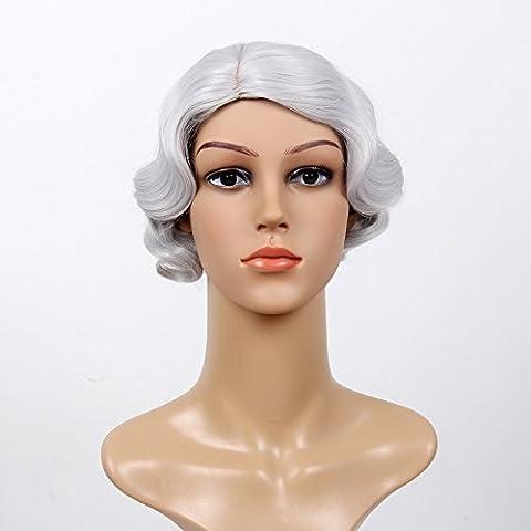 Stfantasy des Perruques pour femme Court ondulés résistant à la chaleur Perruque de cheveux synthétiques 30,5cm 100g Full Peluca gratuit Cheveux Net + Clips de fixation, gris argenté