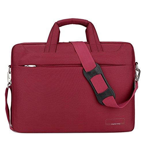 Easy Go Shopping Männer Frauen Laptop Umhängetasche Business Notebook PC Umhängetasche Arbeit Aktentasche Hülle Umhängetasche für Laptop (Farbe : Rot, Größe : 17inch)