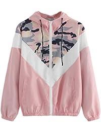 Longra Damen Camouflage Übergangsjacke Camo Military Jacke Leichte  Herbstjacke Streetwear Kapuzenjacke mit Reißverschluss Damen… 1c2d8929ff